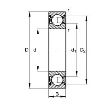 110 mm x 170 mm x 28 mm  FAG 6022-2Z deep groove ball bearings