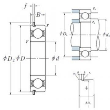 25 mm x 62 mm x 17 mm  NSK 6305NR deep groove ball bearings