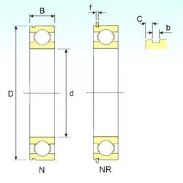 25 mm x 62 mm x 17 mm  ISB 6305 NR deep groove ball bearings
